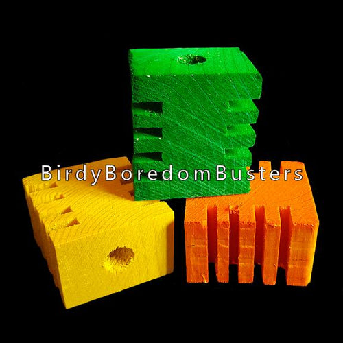 Brightly colored pine blocks measuring approx 1-3/4