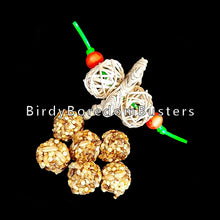 Load image into Gallery viewer, A cute little foraging box stuffed with crinkle paper shred. Hidden inside your bird will find a Mini Star Munch Foot Toy and Nutriberries. Designed for small birds. Two box designs available.