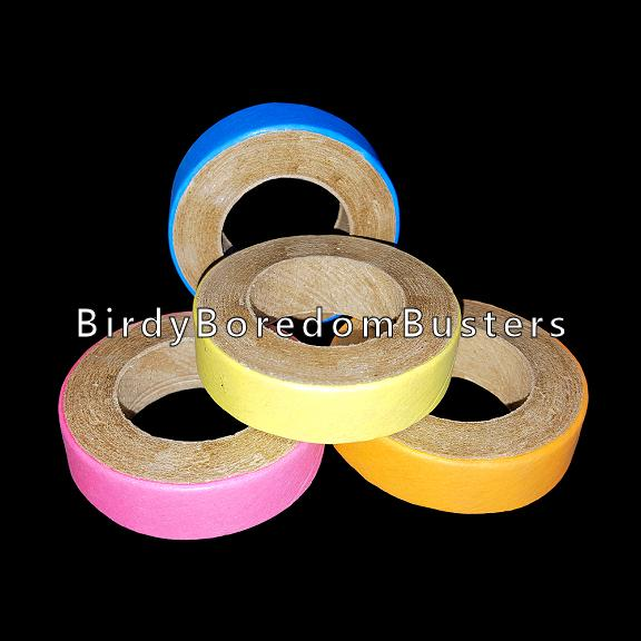 Non-toxic, bird safe paper rings can be used as foot toys, slipped over perches or used as a toy base. Approx size 1-3/4