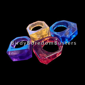 "Chunky & durable! Large acrylic rings measuring 1-1/8"" at the widest point with a large 11/16"" hole."