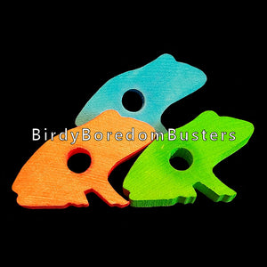 "Brightly colored hardwood frogs measuring approx 2-1/4"" by 1-1/2"" by 3/8"" thick with a 3/8"" hole.  Package contains 10 pieces."