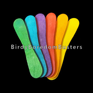 "Brightly colored wooden craft spoons measuring 3-3/4"" by 5/8"". A popular part for birds who like thin wood.   Package contains 60 spoons."
