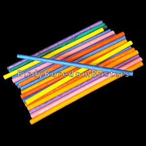 "Brightly colored rolled paper lollipop sticks measuring 3-1/2"" by 1/8"". Use for birds of all sizes."