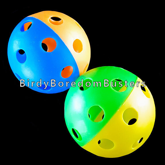 Two toned colored perforated baseball sized wiffle balls. Use as a foot toy or as a base for making medium sized toys.