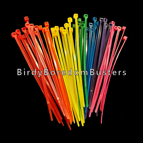 Brightly colored nylon zip ties measuring 4