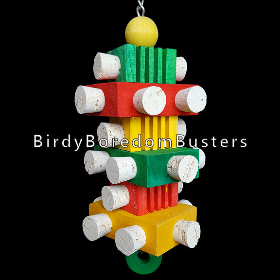 Brightly colored basswood & pine busy beaver blocks stuffed with two dozen corks hanging on nickel plated chain.  Measures approx 4