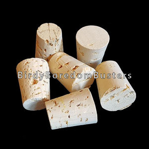 "Natural, untreated & glue-free corks measuring approx 1"" by 3/4"" at the top. A great texture for timid beaks."