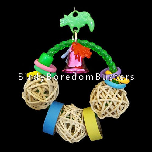 Threaded on a crystal rope ring your bird will enjoy an assortment of rubber rings, bitty birdie bagels, vine balls, charms and a colored vacuum coated bell to make a little noise with!  Measures approx 4