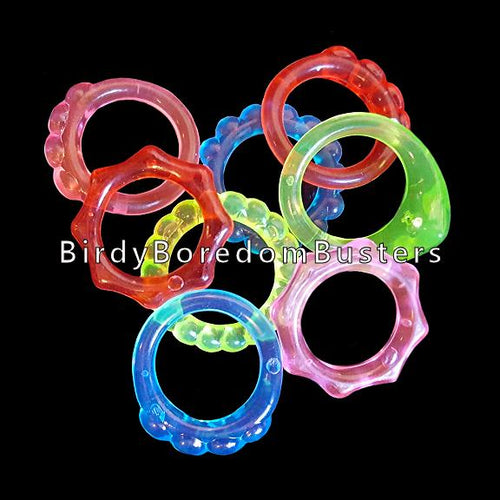 Little crystal colored plastic rings for making small toys. Rings measure 7/8