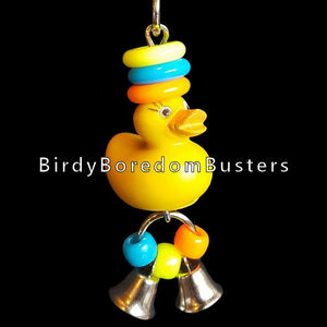 "A little solid rubber duck with pony beads, mini rings & two tiny nickel plated bells to make a little noise with!  Hangs approx 6"" including link."