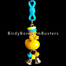 "Load image into Gallery viewer, A little solid rubber duck with pony beads, mini rings & two tiny nickel plated bells to make a little noise with!  Hangs approx 6"" including link."