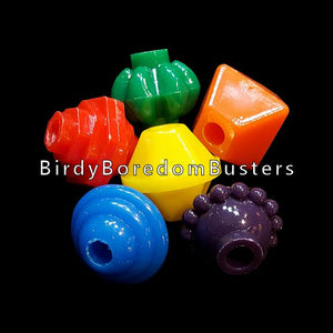 "Brightly colored, odd shaped acrylic beads approx 1"" with a 1/4"" hole.  Package contains 25 beads."