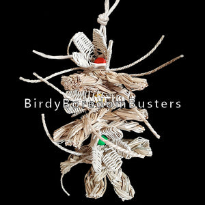 "A totally shreddable toy made with vine lily flowers that have wood beads tucked inside, thick braided seagrass strips and crunchy seagrass whiskers all strung on paper rope. A great toy for birds who love to shred as well as rabbits, chinchillas, guinea pigs and other furry critters.  Hangs approx 13"" including link."