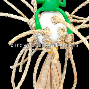 "Twisted seagrass cord knotted on a perforated golf ball with a rubber frog and small wood beads. Toy hangs on paper twist rope. Birds love chewing on the crunchy seagrass and paper rope!  Measures approx 5"" by 9"" including link."