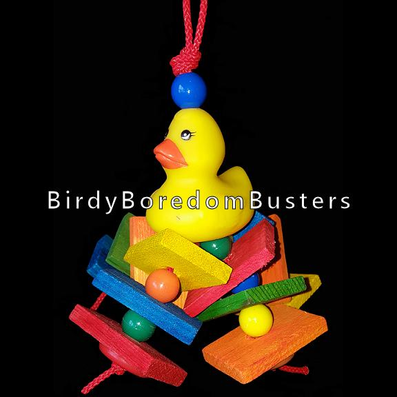 A rubber duck with a dozen brightly colored pine slats & beads strung on paulie rope. This toy contains no metal parts.  Hangs approx 5
