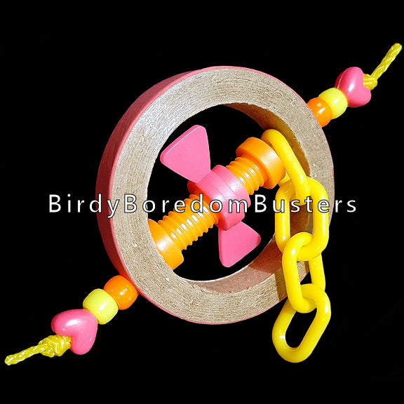 Plastic chain and a mini nut & bolt inside a bagel held together with paulie rope and pony beads. Designed for all medium to large birds.  Measures approx 3
