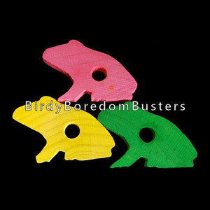 "Brightly colored hardwood frogs measuring approx 1-1/2"" by 1"" by 3/16"" thick with a 1/4"" hole drilled in the center.  Package contains 15 frogs in assorted colors."