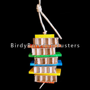 "Brightly colored pine wood slats and cardboard honeycomb blocks threaded on paper twist rope. A perfect toy for birds who are light chewers and prefer softer textures.  Hangs approx 12"" including link."