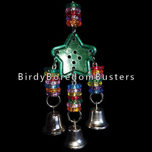 A rainbow mixture of stringing rings and bells on nickel plated chain on a big crystal button. Your fid will have a rattling good time with this toy!