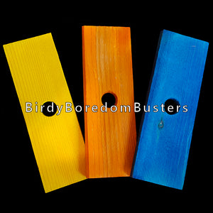 "Brightly colored soft wood pine slats measuring 1-1/2"" by 4-1/2"" by 1/4"" thick with a 1/2"" hole.  Package contains 6 pieces."
