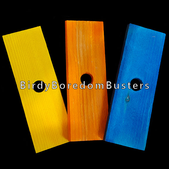 Brightly colored soft wood pine slats measuring 1-1/2