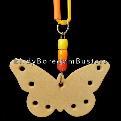 A bird-safe vegetable tanned leather butterfly measuring approx 2-1/2
