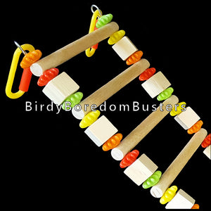 "A ladder bridge for small and intermediate birds made with 3/8"" birch dowels strung on stainless steel wire with spinning beads and wood cubes. Attach to sides or top of cage. Goes nicely with our Little Bird Swing.  Bridge can be shaped and reshaped for variety. Custom lengths available upon request.  Measures 4-1/2"" wide with 1-1/8"" space between the rungs."