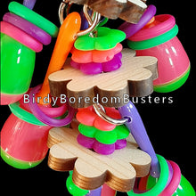 "Load image into Gallery viewer, Your bird is sure to have a fiesta with this colorful toy! Mini maracas, pine daisies, lots of rubber rings and neon flower rings strung on nickel plated chain for your bird to shake & rattle! For small beaks only (budgies, linnies, parrotlets, etc).  Hangs approx 3"" by 8""including link."