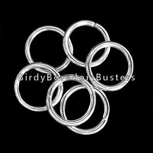 "Unwelded nickel plated o-rings (aka jump rings) approx 1"" in diameter. O-rings are the safest way to end or attach parts to chain. Open & close with pliers.  Package contains 20 rings."