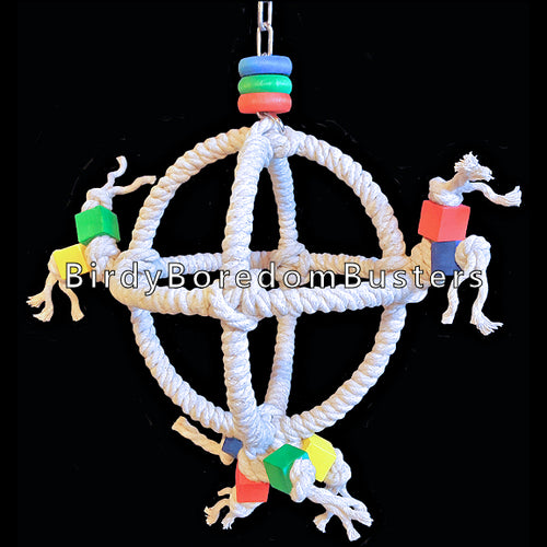 Sturdy steel rings wrapped with unbleached 100% cotton rope with brightly colored wood blocks & rings. A fun swing that is sure to excite any small parrot! Suitable for budgies, lovebirds and cockatiels up to caiques, senegals and ringnecks.  Measures 7