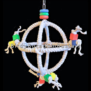 "Sturdy steel rings wrapped with unbleached 100% cotton rope with brightly colored wood blocks & rings. A fun swing that is sure to excite any small parrot! Suitable for budgies, lovebirds and cockatiels up to caiques, senegals and ringnecks.  Measures 7"" in diameter by 15"" including link."