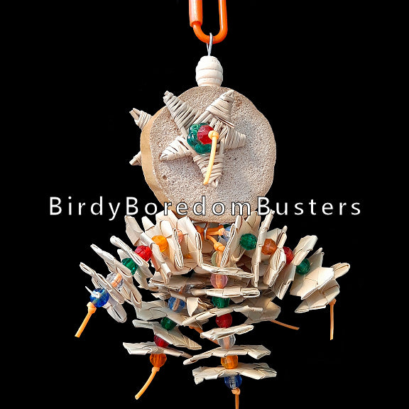 Lots of crunchy palm leaf shredders and bright beads threaded on plastic lacing cord under a soft and fibrous yucca slice with vine stars on both sides. Designed for small birds who love softer textures.  Hangs approx 8