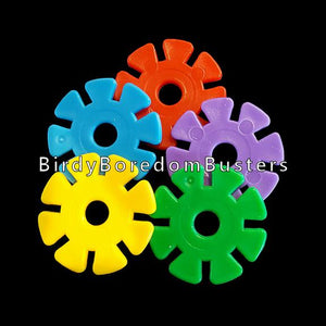 "Plastic wheels approx 1-1/4"" in diameter with a 7/32"" hole.  Package contains 25 wheels in assorted colors."