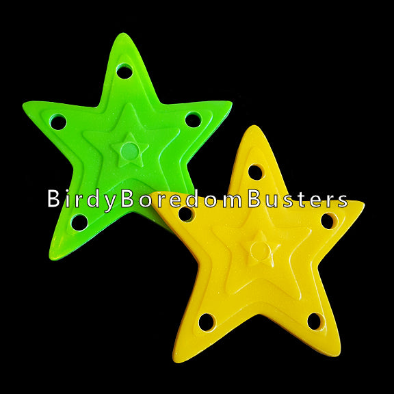 Brightly colored plastic stars to make small hanging toys or foot toys for bigger birds. Each star measures approx 2-1/2