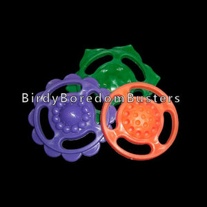 "Brightly colored plastic flower rounds measuring approx 1-1/2"" in diameter. Each round has four oblong holes and can be used as a dangle or as a base for small bird toys.  Package contains 10 pieces."