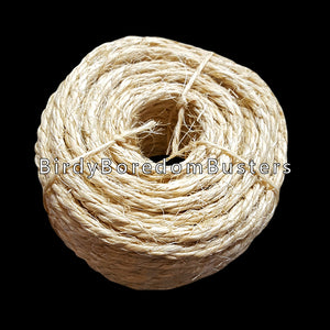 "Natural 1/4"" sisal rope. Great for use with medium and large birds as well as rabbits, chinchillas and other furry critters.  Coil contains 50 feet of rope."