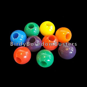 "Round acrylic beads measuring 5/8"" with a 1/4"" hole. Will fit on paulie rope, leather lace, cotton cord & 1.6mm chain.  Package contains 25 beads."