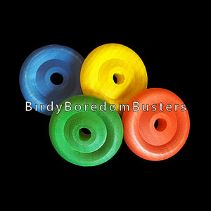 "Brightly colored hard wood wheels 1"" in diameter by 1/4"" thick with a 3/16"" center hole.  Package contains 10 wheels."