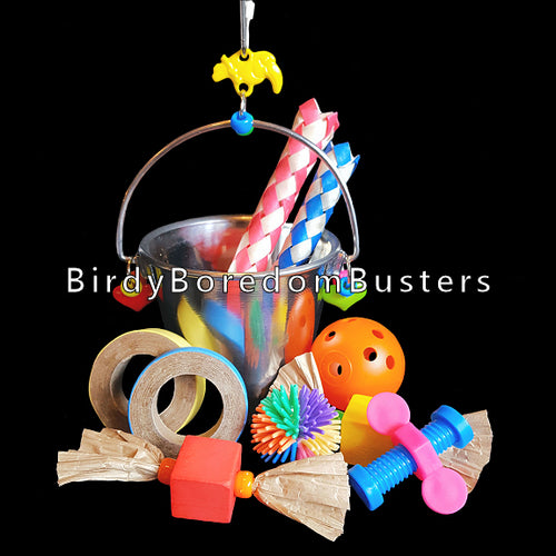 A half pint stainless steel pail filled with assorted foot toys. Hang on the side of the cage with the included link. Easy to clean & dishwasher safe. Suitable for small to medium birds.  Pail measures 3-1/4