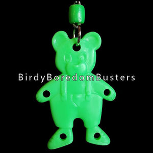 "A plastic teddy bear with four small holes. Bear is approx 3"" and includes nickel plated hardware and cool clip link. Use for small and intermediate bird toys."