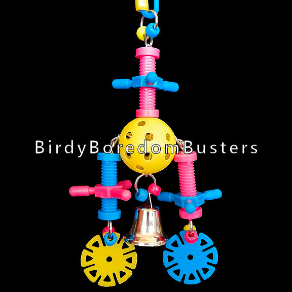 Brightly colored spinning nut & bolt sets with plastic wheels and a nickel plated bell threaded through a wiffle golf ball with nickel plated chain. This toy has lots of wiggle and makes a nice sound when rattled. Great for multiple birds!  Measures approx 3