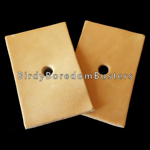 Bird safe vegetable tanned leather rectangles measuring 3