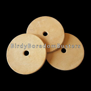 "Bird safe vegetable tanned leather rounds measuring 2-1/4"" by 1/8"" thick with a 1/4"" center hole."