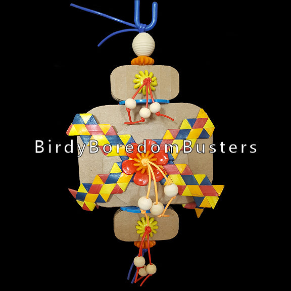 Three triple layers of crunchy corrugated cardboard cutouts with lots of little wooden beads on s'getti string to play with and rainbow zigzag shredders to shred. Designed for small to intermediate birds.  Measures 4