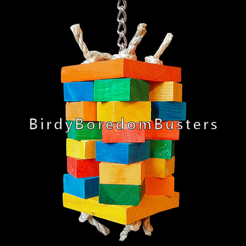 Four columns of chunky pine blocks tied together with sisal rope between two larger pine squares. Hanging on nickel plated chain that runs from top to bottom, this toy is perfect for the feathered woodchucks in your family!  Measures approx 3-1/2