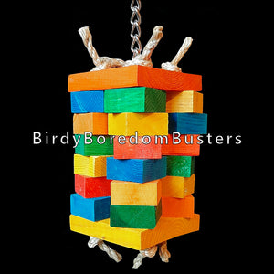 "Four columns of chunky pine blocks tied together with sisal rope between two larger pine squares. Hanging on nickel plated chain that runs from top to bottom, this toy is perfect for the feathered woodchucks in your family!  Measures approx 3-1/2"" wide by 12"" including link."