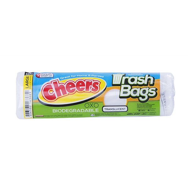 CHEERS TRASH BAG TRANSLUCENT LARGE 10'S