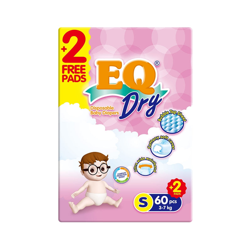 EQ DRY DIAPER JUMBO SMALL 60'S