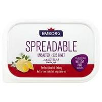EMBORG SPREADABLE UNSALTED 225G