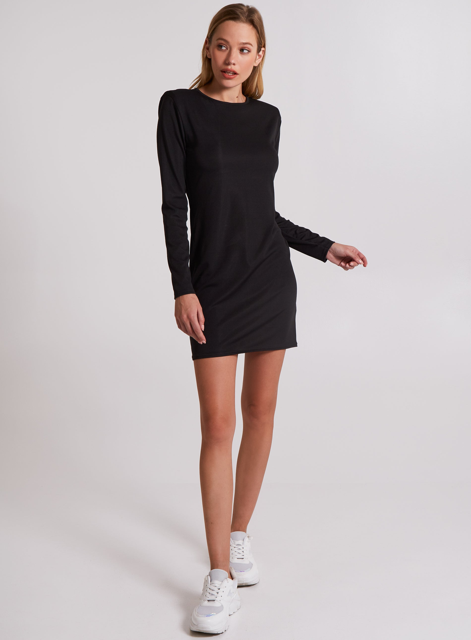 POSITIVE - Ribbed Padded Shoulder Mini Dress